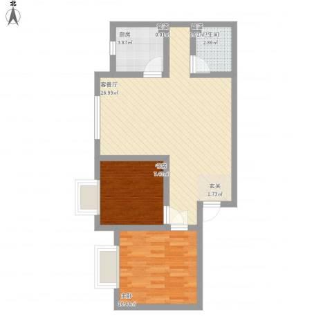 东城100(微笑城堡)2室1厅1卫1厨75.00㎡户型图