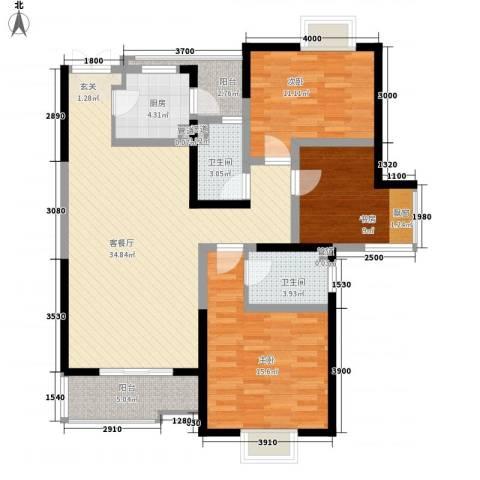 教授花园IV期碧山临海3室1厅2卫1厨131.00㎡户型图