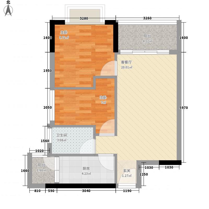 星城格调71.63㎡F1栋04单元户型2室2厅1卫1厨