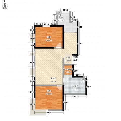幸福阳光2室1厅1卫1厨92.69㎡户型图