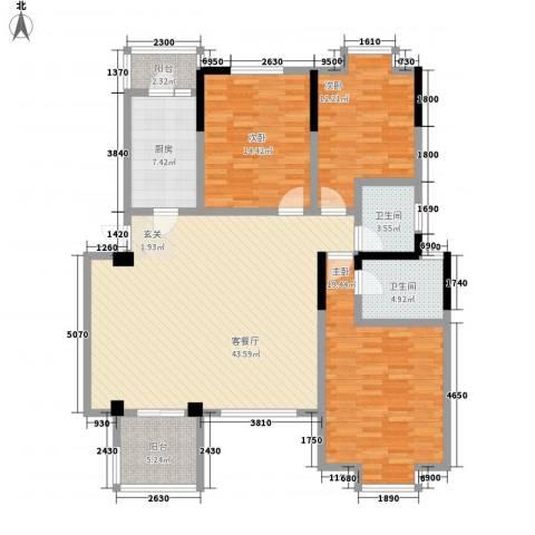 小岛花园城四期3室1厅2卫1厨162.00㎡户型图