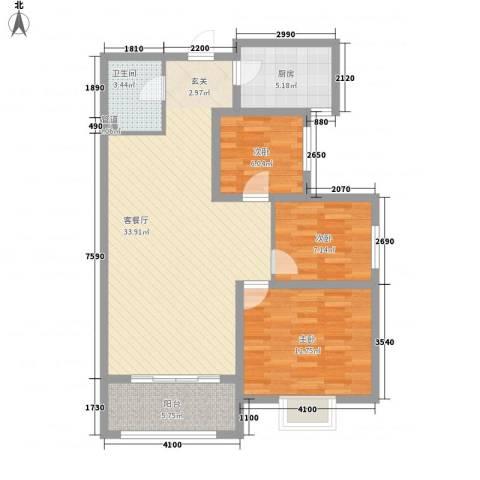 紫气东来3室1厅1卫1厨74.26㎡户型图