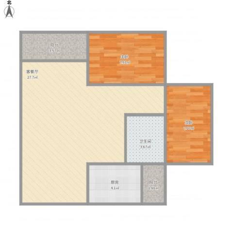 棕榈假日2室1厅1卫1厨76.00㎡户型图