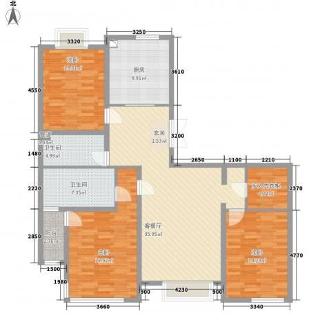 幸福阳光3室1厅2卫1厨126.15㎡户型图