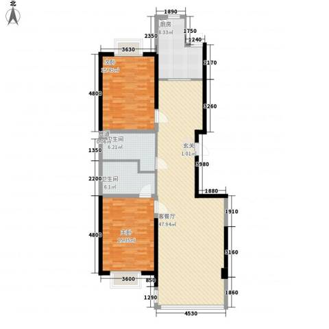 幸福阳光2室1厅2卫1厨111.51㎡户型图