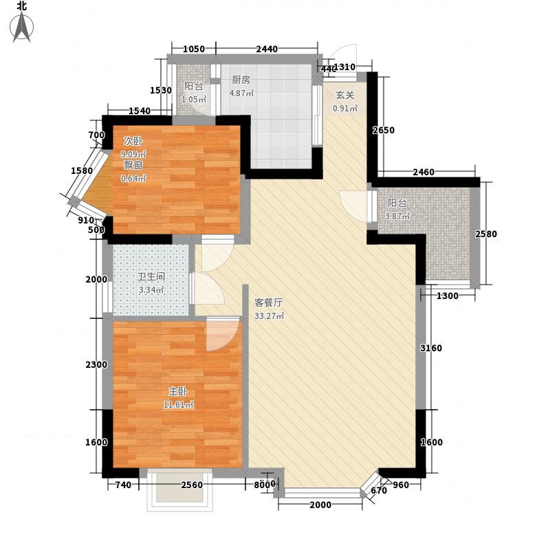 东润豪庭88.89㎡一期B2户型2室2厅1卫1厨