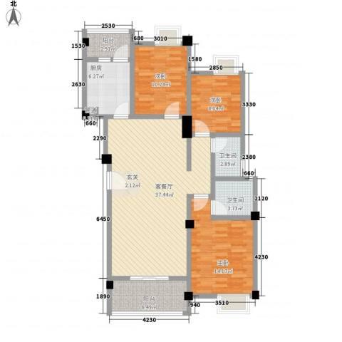 荣华山庄二期温情港湾3室1厅2卫1厨114.00㎡户型图