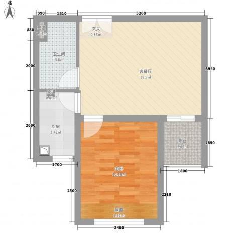 中南世纪城1室1厅1卫1厨59.00㎡户型图