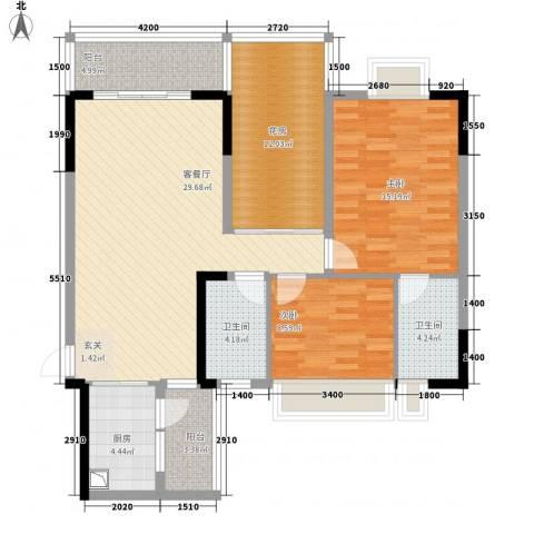 中珠上城2室1厅2卫1厨86.86㎡户型图