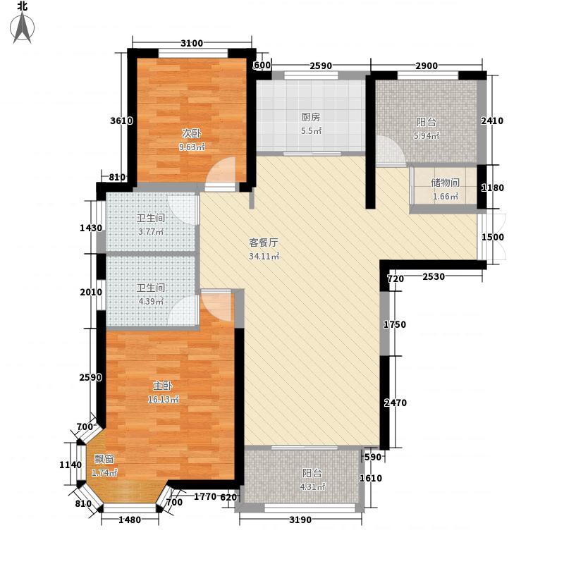 昆仑首府18.54㎡3栋A1户型3室3厅2卫1厨
