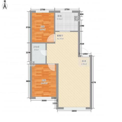 水岸雅居2室1厅1卫1厨81.00㎡户型图