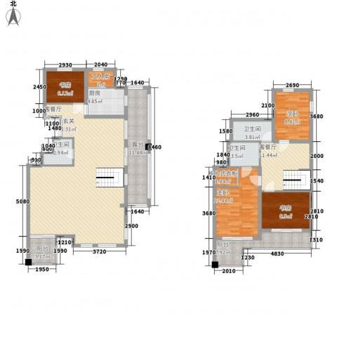 万科西街庭院4室2厅3卫1厨139.48㎡户型图