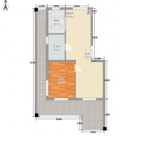 万科西街庭院1室1厅1卫1厨69.99㎡户型图