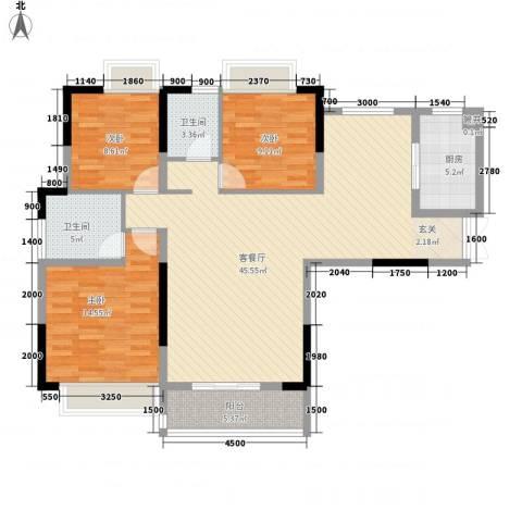 中登城市花园3室1厅2卫1厨138.00㎡户型图