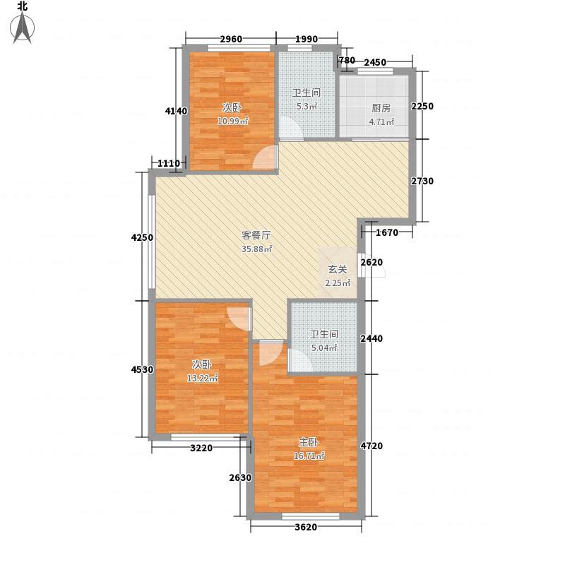 龙山鸿郡2321126.25㎡户型3室2厅1卫1厨