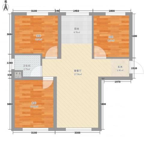 辽阳第一城3室1厅1卫0厨58.15㎡户型图