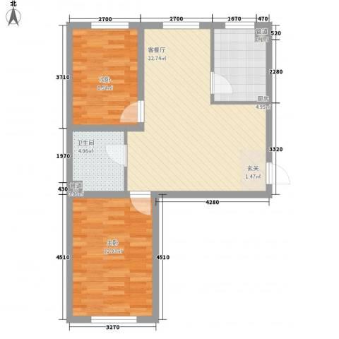 水岸雅居2室1厅1卫1厨76.00㎡户型图