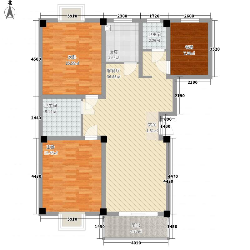 印湖山庄122.43㎡B户型2室1厅1卫1厨