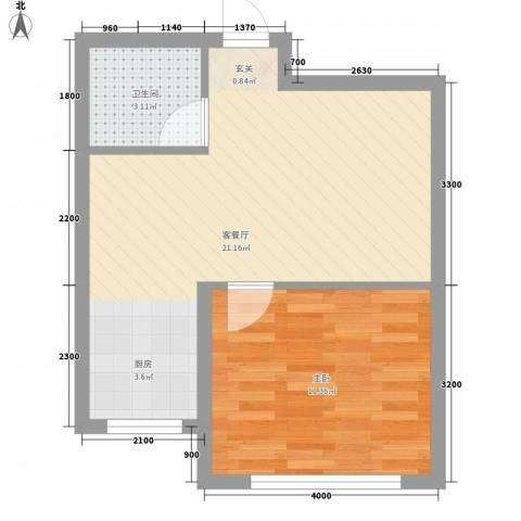 城基绿色家园1室1厅1卫0厨55.00㎡户型图