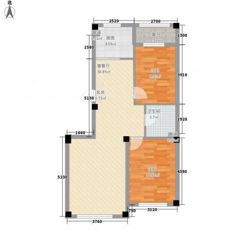 水岸雅居2室1厅1卫1厨82.00㎡户型图