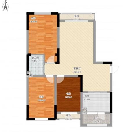 蓝色港湾3室1厅1卫1厨123.00㎡户型图