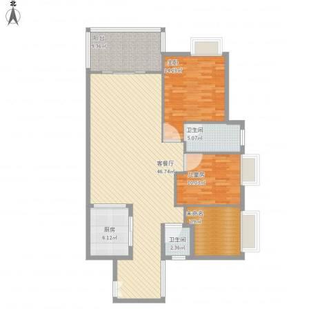 香堤雅湾2室1厅2卫1厨143.00㎡户型图