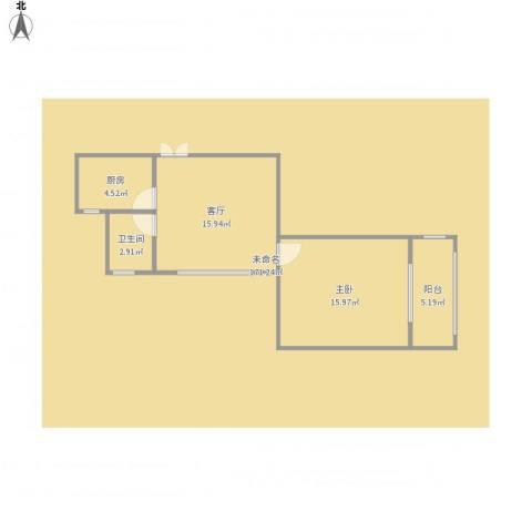 装饰艺术与细部设计1室1厅1卫1厨60.00㎡户型图