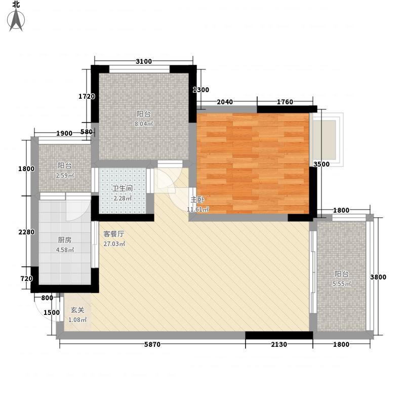 金信・世纪锦源78.80㎡3栋B3-2户型1室2厅1卫1厨