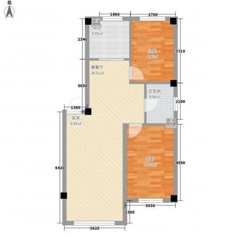 水岸雅居2室1厅1卫1厨79.00㎡户型图