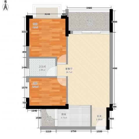 星城格调2室1厅1卫1厨48.29㎡户型图
