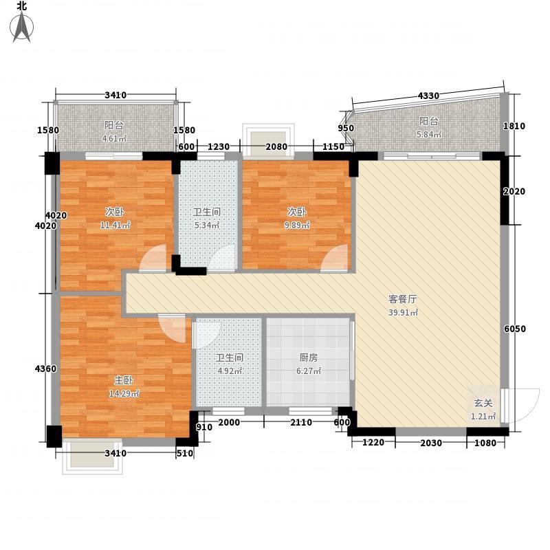 富城国际125.85㎡2#B户型3室2厅2卫1厨