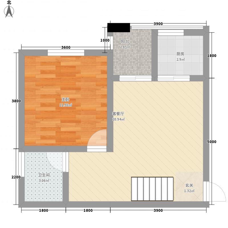 悠山丽景83.65㎡B1户型2室2厅2卫1厨