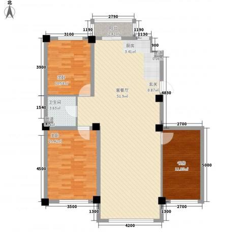 水岸雅居3室1厅1卫0厨123.00㎡户型图