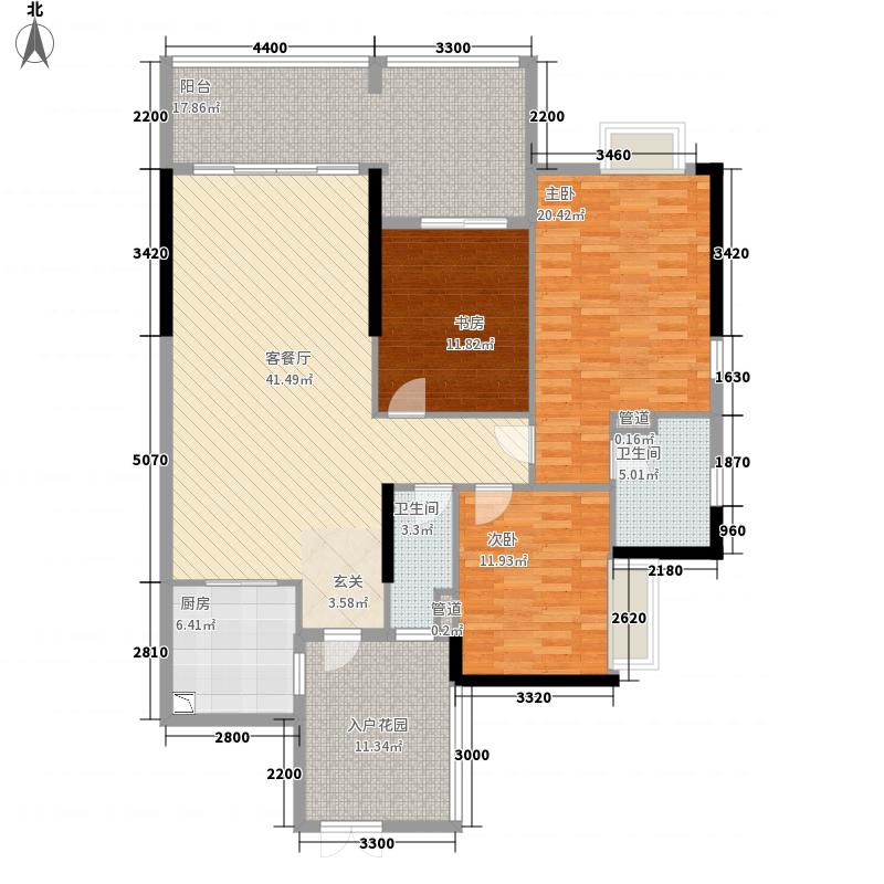 中银名苑12.54㎡2栋04单位户型3室2厅2卫1厨