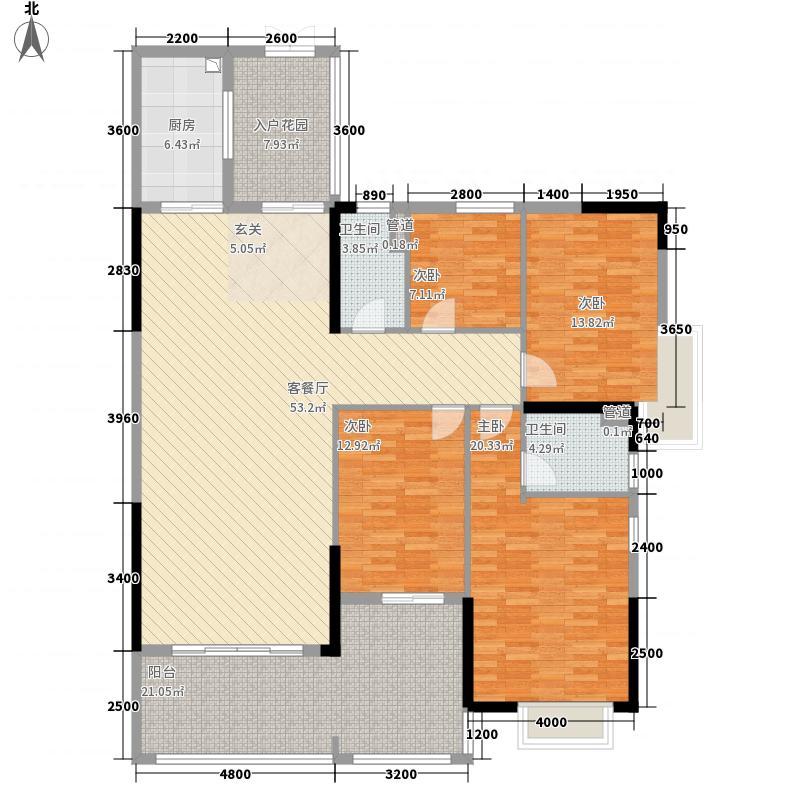 中银名苑46栋01单位户型4室2厅2卫1厨