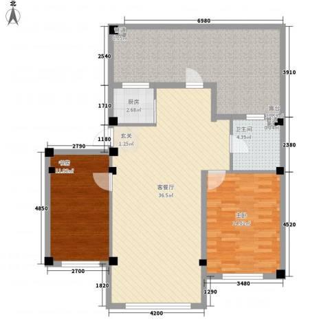 水岸雅居2室1厅1卫1厨90.15㎡户型图