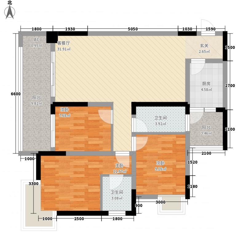 江岸国际16.70㎡15#1号房户型3室2厅2卫1厨