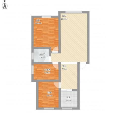 幸福家园3室2厅1卫1厨108.00㎡户型图