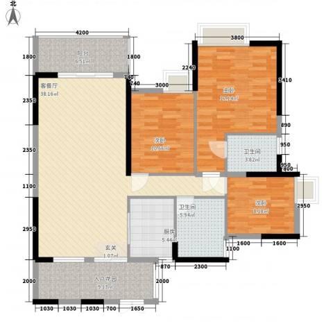 东方家园3室1厅2卫1厨104.99㎡户型图