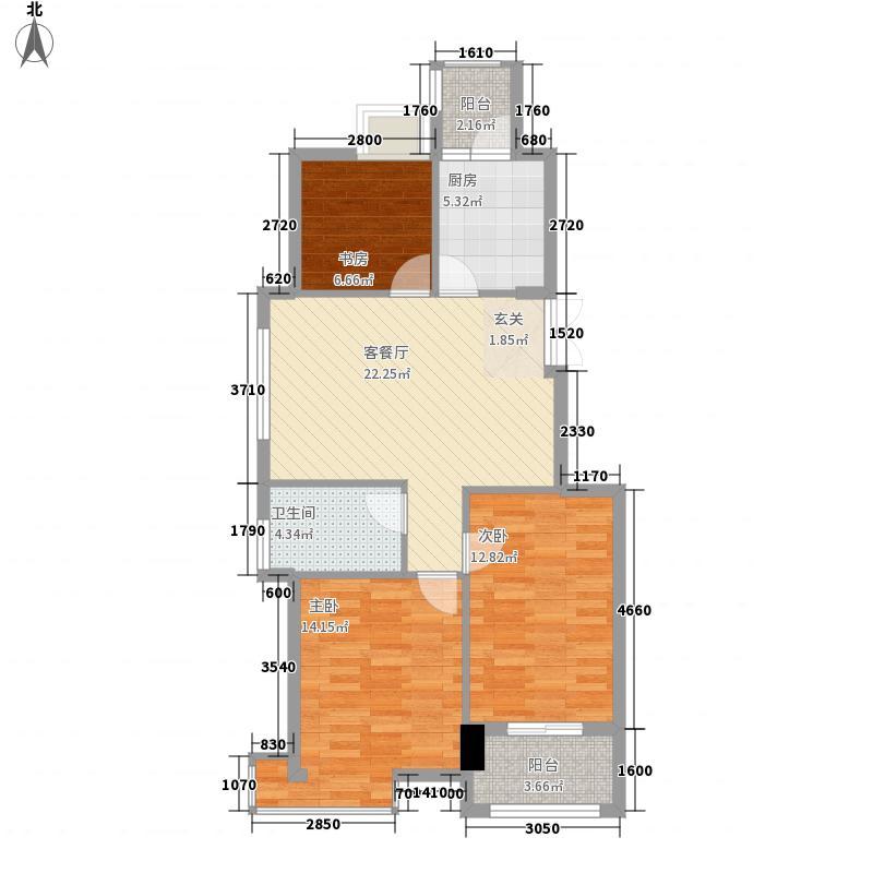 滨江时代城58.20㎡XG5户型3室2厅1卫1厨