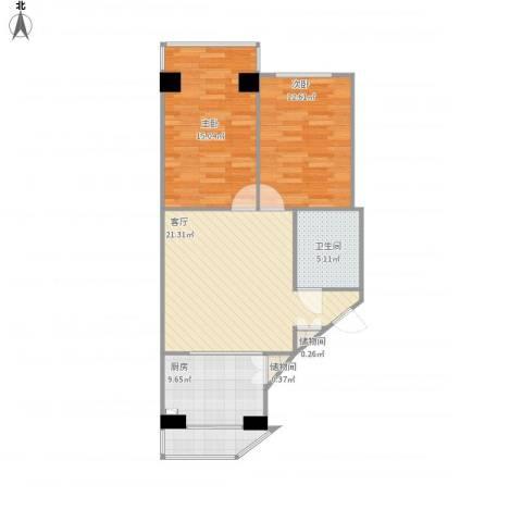 锦江园2室1厅1卫1厨88.00㎡户型图
