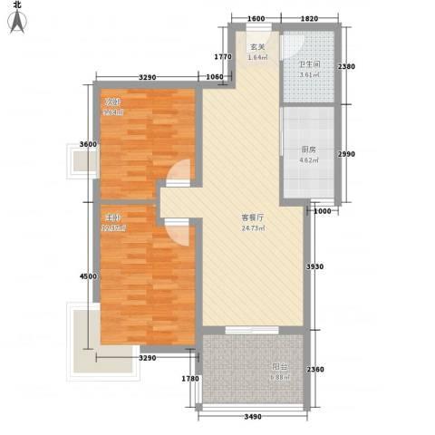 苹果城2室1厅1卫1厨89.00㎡户型图