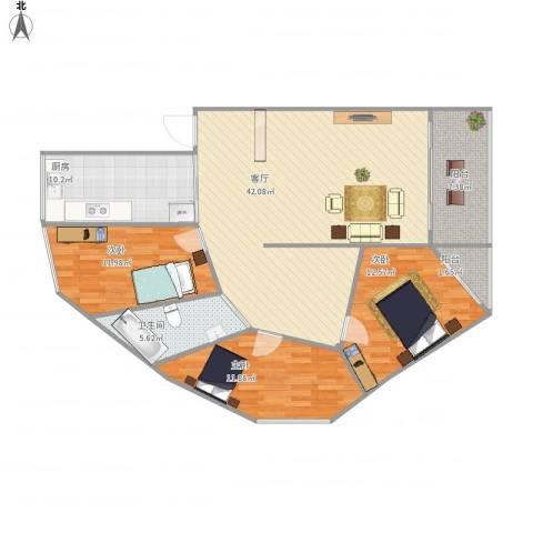祥和苑3室1厅1卫1厨138.00㎡户型图
