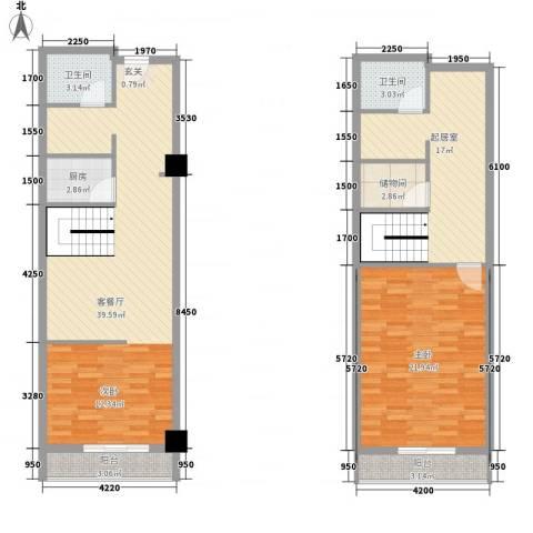 领汇乐城1室1厅2卫1厨96.61㎡户型图