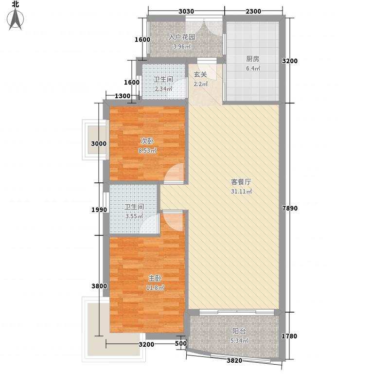 东山花城8.40㎡富华楼A户型2室2厅2卫1厨