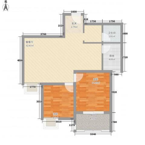 苹果城2室1厅1卫1厨63.93㎡户型图