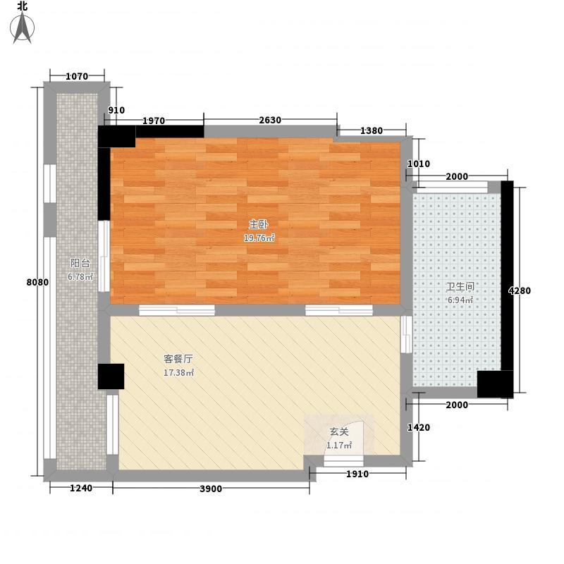 樱花谷74.46㎡D户型1室1厅1卫1厨