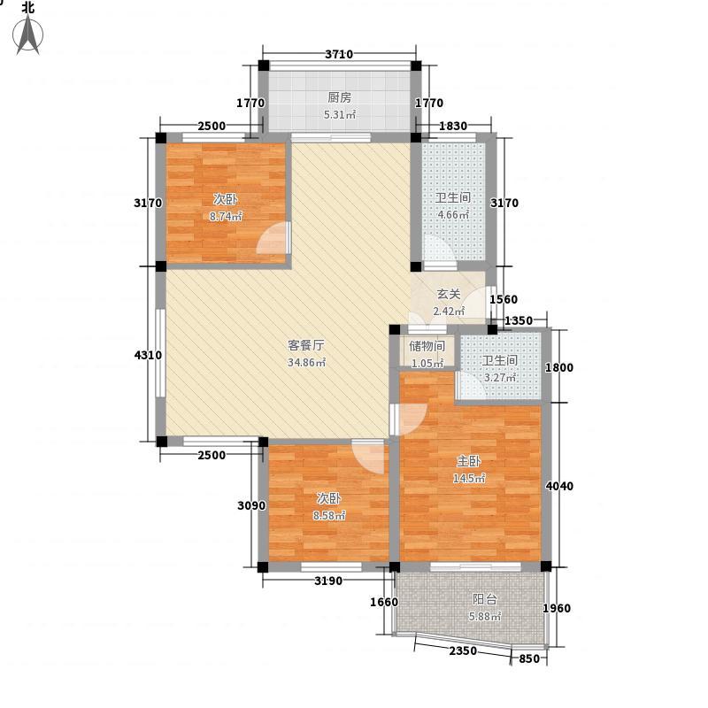 世纪花城户型2室2厅1卫1厨