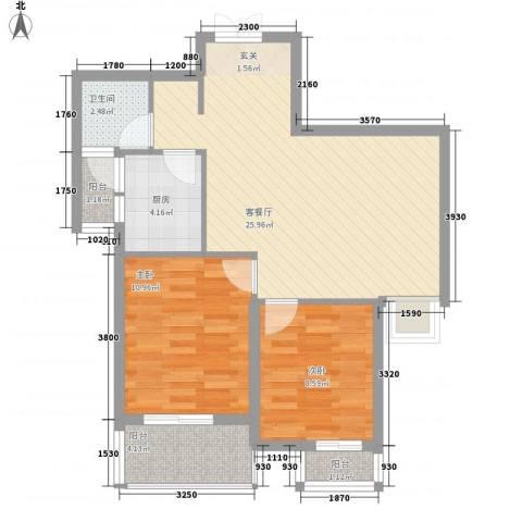 苹果城2室1厅1卫1厨84.00㎡户型图