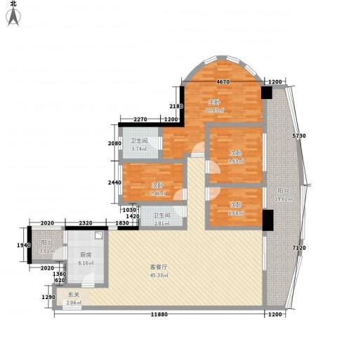 亿海湾4室1厅2卫1厨178.00㎡户型图
